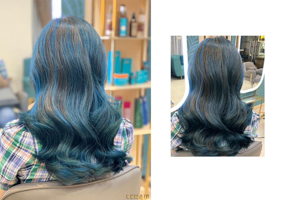 tóc nhuộm highlight xanh dương